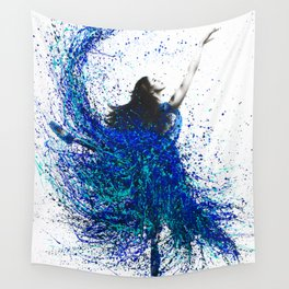 Teal Wave Dance Wall Tapestry