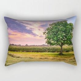 Green Tree and Sunset Sky Rectangular Pillow