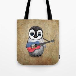 Baby Penguin Playing Haitian Flag Acoustic Guitar Tote Bag