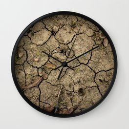 Cracked Winter Soil Wall Clock