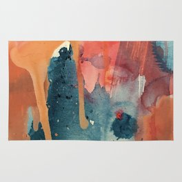 Pour Some Sugar on Me: a colorful mixed media abstract in pinks blues orange and purple Rug