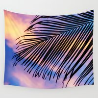 palm Wall Tapestries featuring SUNSET PALM by Catspaws