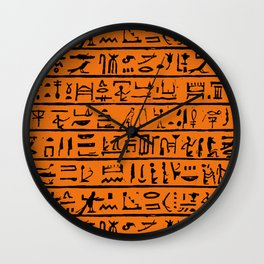 Egyptian Hieroglyphics // Orange Wall Clock