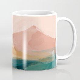 pink, green, gold moon watercolor mountains Coffee Mug