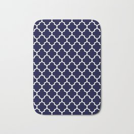 White Moroccan Quatrefoil On Navy Blue Bath Mat