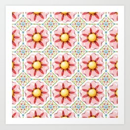 Pink Daisy Boho Chic Art Print