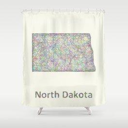 North Dakota map Shower Curtain