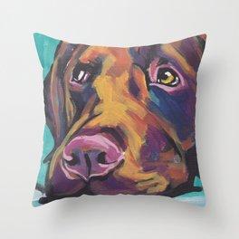Fun Chocolate Lab Dog bright colorful Pop Art Labrador Throw Pillow