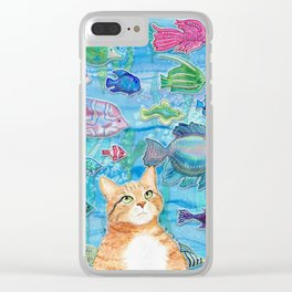 Cat and Fish Clear iPhone Case