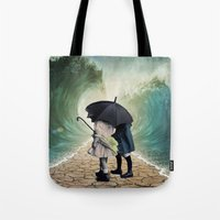 waves Tote Bags featuring Waves by Cs025
