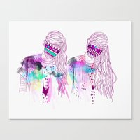 girls Canvas Prints featuring ▲GIRLS▲ by Kris Tate