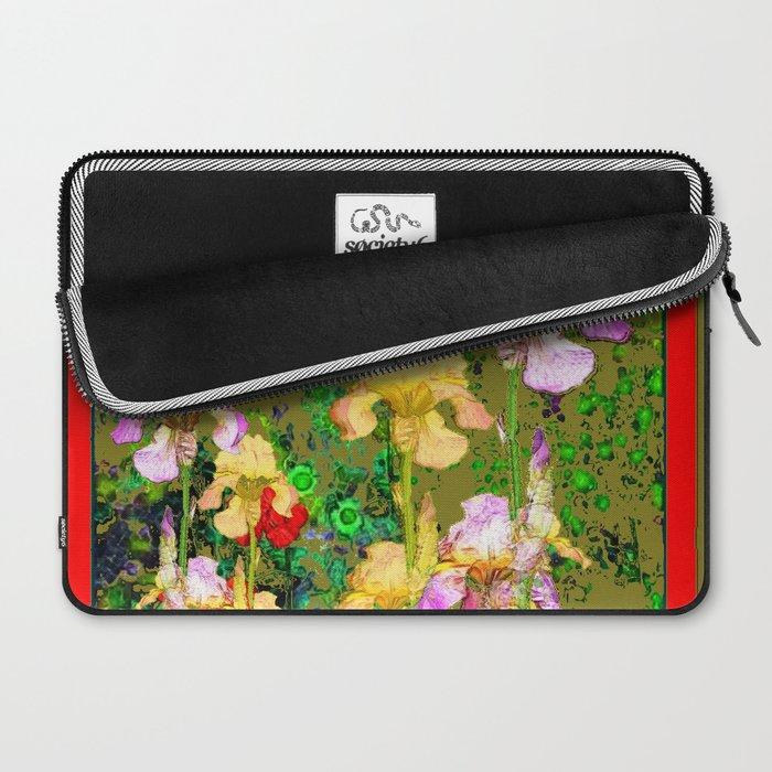 RED GERANIUMS & YELLOW IRIS  AVOCADO COLOR GARDEN PATTERNS Laptop Sleeve