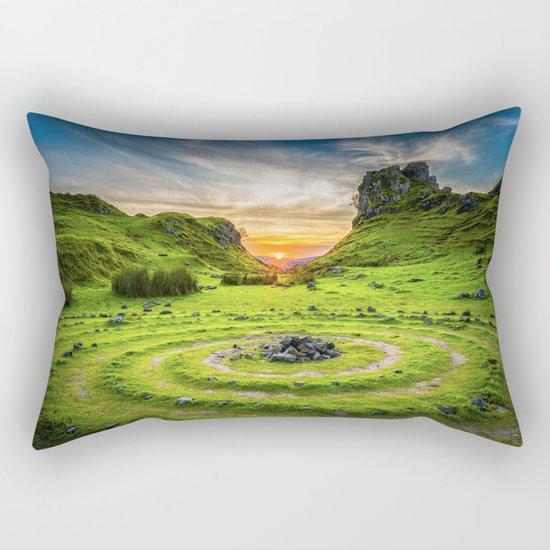 Green nature circle Rectangular Pillow