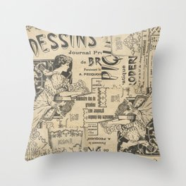 Vintage Art Nouveau collage Throw Pillow