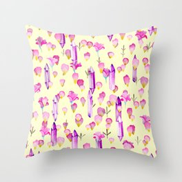 Crystals And Flowers Pattern Throw Pillow