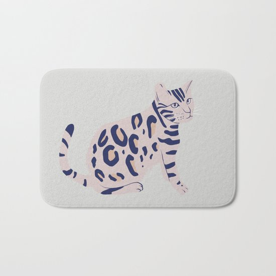 Cat's Aberration, animal, cat art print, illustration Bath Mat
