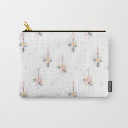Bohemian pastel pink ivory blue hand painted arrows floral Carry-All Pouch