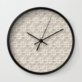 Cream Floral Lace Pattern Wall Clock