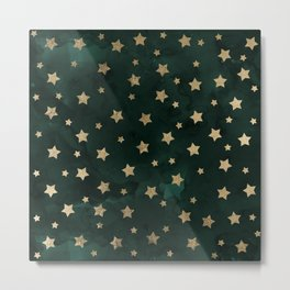 Modern gold christmas stars geometric pattern green watercolor Metal Print