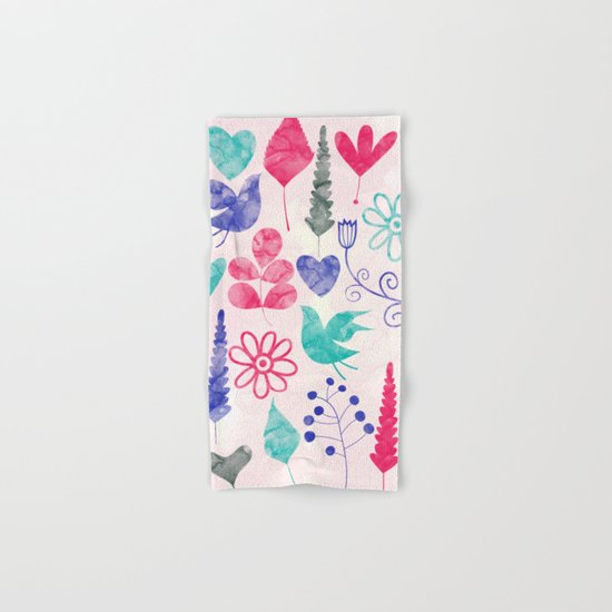 Watercolor Botanical Garden V Hand & Bath Towel