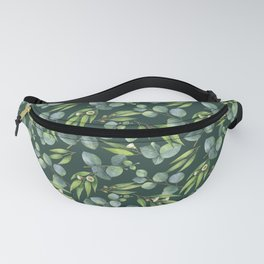 Elegant Watercolour Eucalyptus Foliage Key to Happiness Quote Fanny Pack