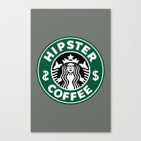 hipster lion Canvas Prints featuring Hipster Coffee by REBEL -Lion