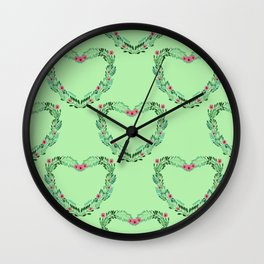 Heart Wreath Hand-painted in Green Ferns and Pink Blossoms on Mint Green Wall Clock