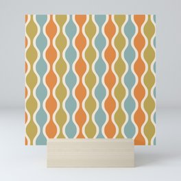 Classic Retro Ogee Pattern 842 Orange Blue and Olive Mini Art Print