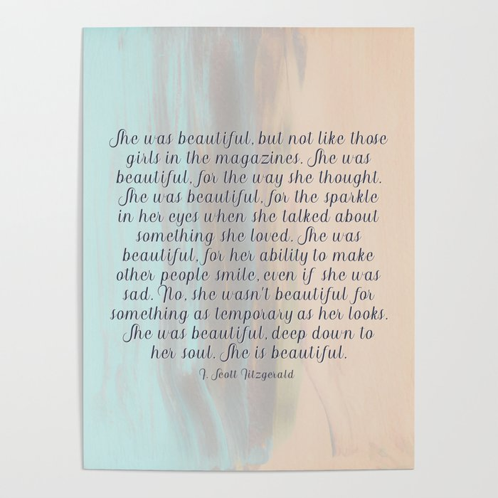 She Was Beautiful By F Scott Fitzgerald 4 Painting Minimalism