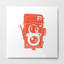 Big Vintage Camera - Orange White Metal Print