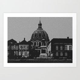 Denmark Black and White Photography of Amalienborg Palace Art Print