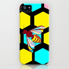 A Black Honeycomb and Bee, Multi-color Natural iPhone Case