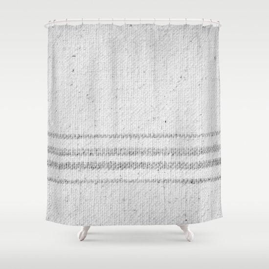 VINTAGE FARMHOUSE GRAIN SACK Shower Curtain By Christina