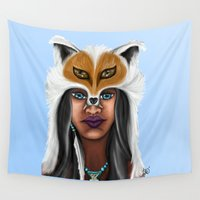 native american Wall Tapestries featuring Native American Beauty by TLCreations