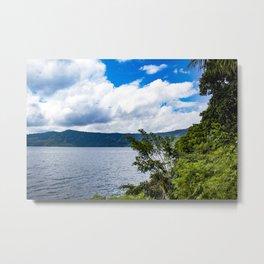 Trees and Tropical Jungle Plants Line Laguna de Apoyo Lake in Nicaragua Metal Print
