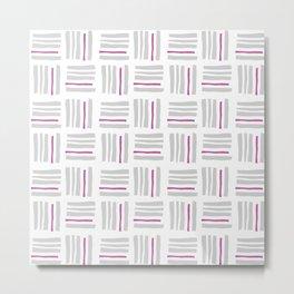 Stripes×Checkered Pattern_White&Pink Metal Print