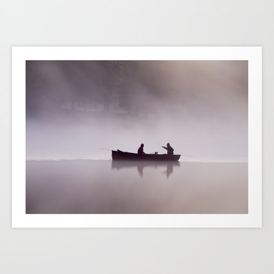 Small rowing boat fishing in the early pink dawn mist, Esthwaite Water, Lake District, UK Art Print