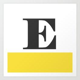 Monogram Letter E-Pantone-Buttercup Art Print