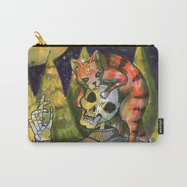skull and cat in the moon Carry-All Pouch