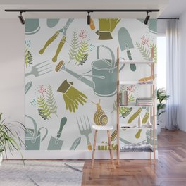 Spring background, gardening tools and snails Wall Mural