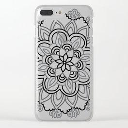 Baesic Handdrawn Black & White Mandala Clear iPhone Case