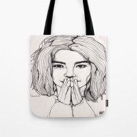 bjork Tote Bags featuring Bjork by Paul Nelson-Esch Art