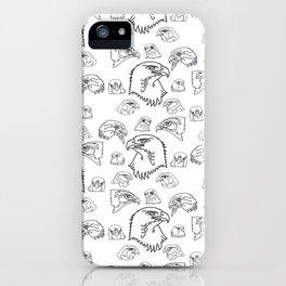 Birds of Prey - black on white iPhone Case