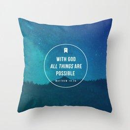 Matthew 19:26 Throw Pillow