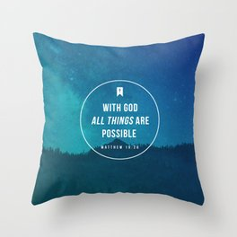 Matthew 19:26 Throw Pillow
