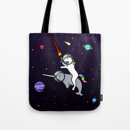 Unicorn Riding Narwhal In Space Tote Bag