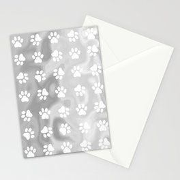 Puppy Paw Print Abstract Grey Stationery Cards