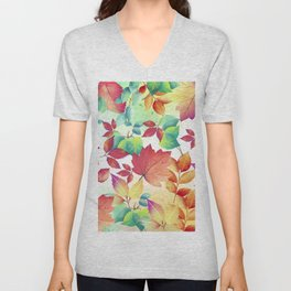 Watercolor Autumn Leaves Unisex V-Neck