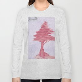 Red Tree watercolor on old paper Long Sleeve T-shirt