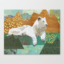 Looking Forward - Snow Lion Collage Canvas Print